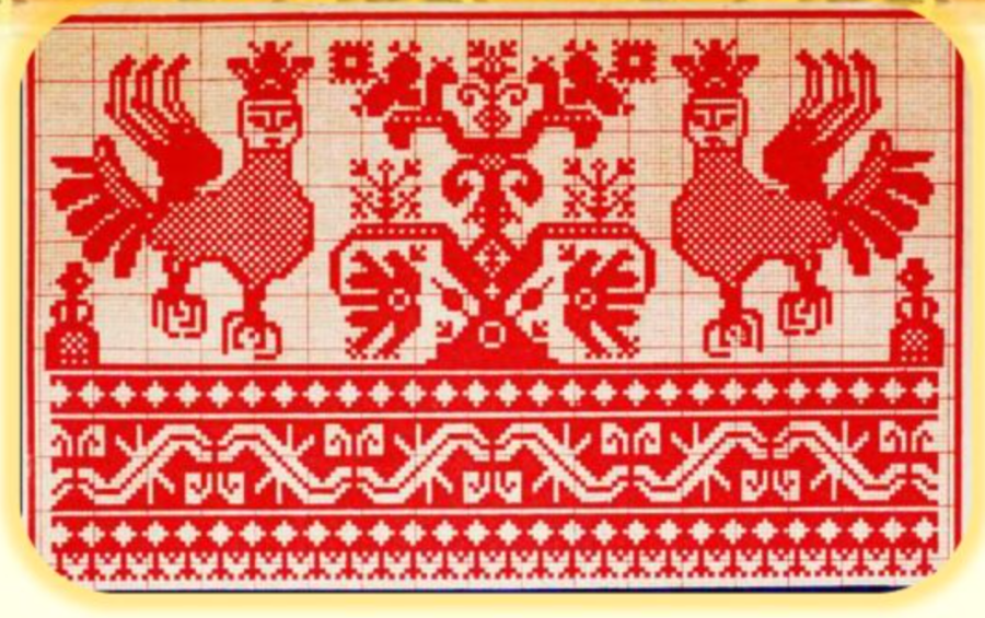 -- Russian-Aryan Mother-Falcon with paws of a Lioness, Lioness' ears and a Crown of the Sun / Ra the on Russian embroideries of the Russian Far North. ----------- Русско-Арийская Мать-Соколиха с лапами Львицы, ушами Львицы, и Короной Солнца / Ра на Роских вышивках Руского Крайнего Севера.