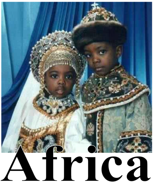 Africans keep deep ties to Russia. Here we see negroes wearing a distinctively Russian national costume.