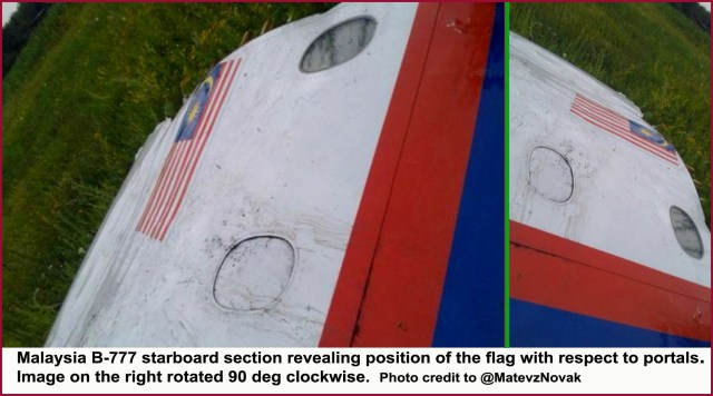 Malaysia B-777 starboard sections for the Flight MH17 and the Flight MH370 are IDENTICAL, unlike all other Malaysian Boeings, providing an additional proof that it is one and the same plane.