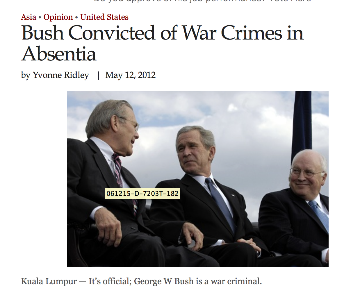 """War crimes expert and lawyer Francis Boyle, professor of international law at the University of Illinois College of Law in America, was part of the prosecution team. After the case he said: """"This is the first conviction of these people anywhere in the world.""""  """"We tried three times to get Bush in Canada but were thwarted by the Canadian Government, then we scared Bush out of going to Switzerland. The Spanish attempt failed because of the government there and the same happened in Germany,"""" -- he added."""