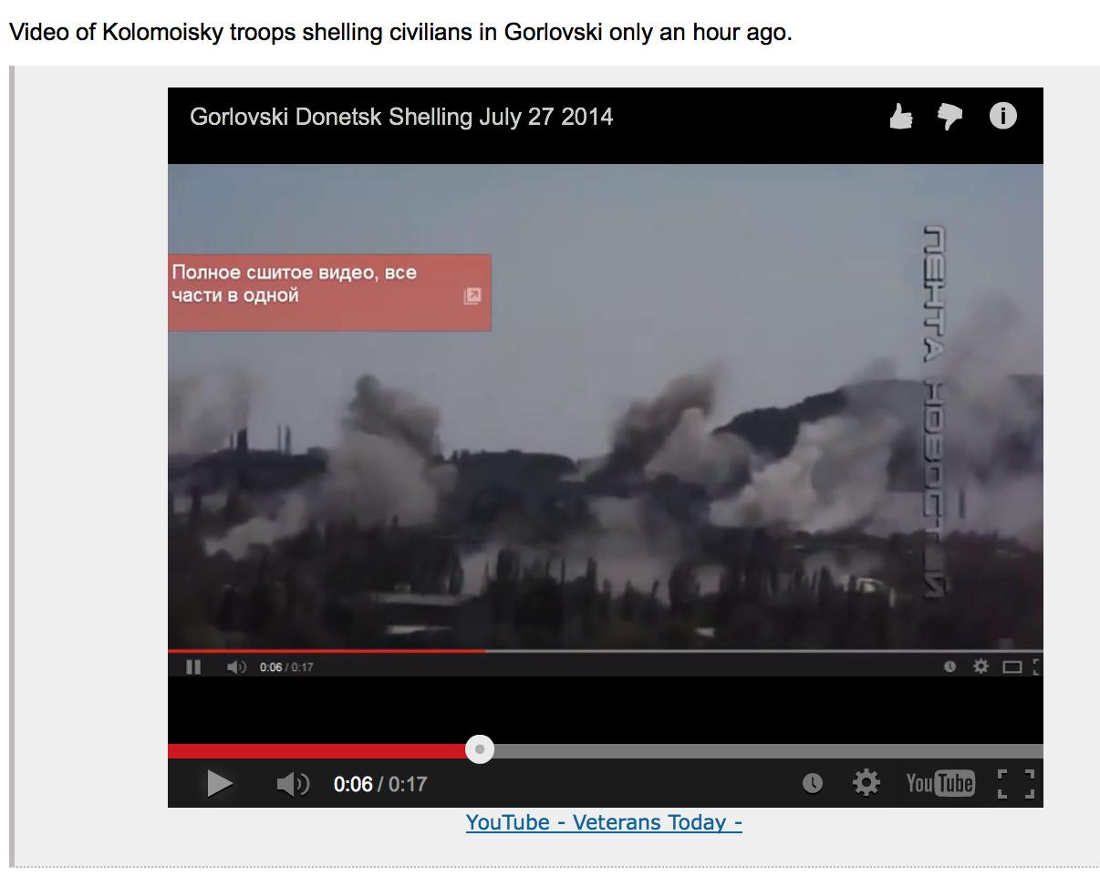Video of Kolomoyskyi troops shelling civilians in Gorlovski on July 27, 2014.