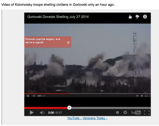 Video of Kolomoyskyi troops shelling civilians in Gorlovski on July 27, 2014.