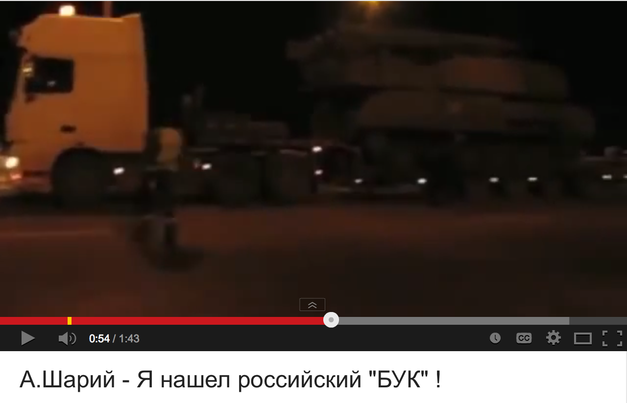 """Ukrainian Journalist Alexander Shary, living in the Netherlands, has reported that the Ukrainian Security Agency published on its site a fake photograph of BUK, presumably being transported towards the Russian-Ukrainian border by """"rebels"""". The photograph was made from a video of the BUK made on March 14, 2014 by the Ukro-Zio-Nazi themselves on their territory. The photo revealed the plate number of the truck transporting the BUK."""