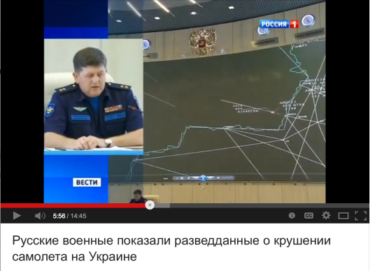Russian Defence Ministry released video data on two Ukrainian jet fights closely following Malaysian Boing 777.