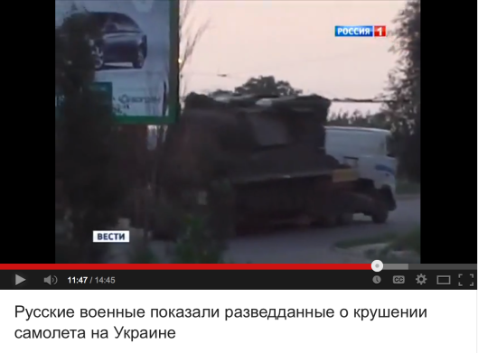 "Russian Defence Ministry pointed out that the Ukro-Zio-Nazi video framing Russian ""rebels"" for transporting the BUK launcher towards the Russian-Ukrainina border is fake, since its backdrop billboard proves that the video footage was taken in the city occupied by the Ukro-Zio-Nazi."