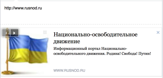 The link to the Russian Liberation Movement opens with the cover-image of Ukrainian Flag on Facebook.