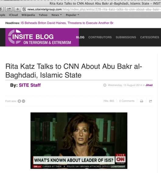 Rita Katz' Fake Nose makes its appearance on CNN.