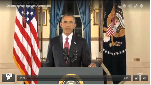 Actual video footage of Obama's Address to the Nation is different from the cover-image for the video.