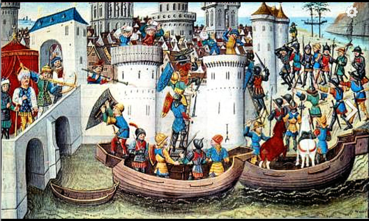 Conquest Of Constantinople By The Crusaders In 1204 15th century miniature