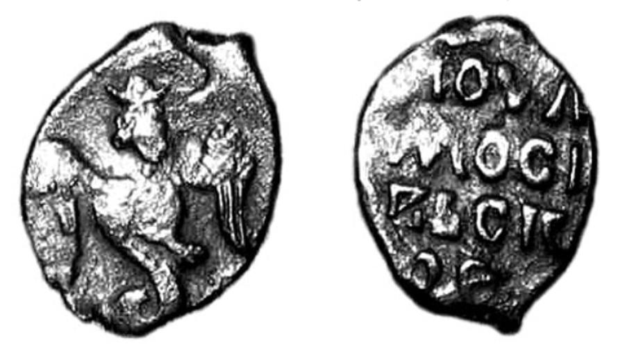Огненный Сокол-Рарог на медной монете 14 века. Таким образом, Московское Княжество мыслило себя в прямой линии насдедственности от Скифов к Русам-Скифам Старой Ладоги, и, затем, Русам Киева. Серебренная монета называлась
