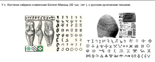 Russian-Aryan Runes, found on the territory of Russia, in Kostenki (near the city of Voronezh), are dated 40,000-50,000 BC.