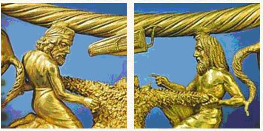 Изображения русов на золотом княжеском нагруднике-гривне из кургана Толстая Могила. Причёска сидящего слева, перехваченная тесьмой, дожила у русских вплоть до двадцатого столетия.