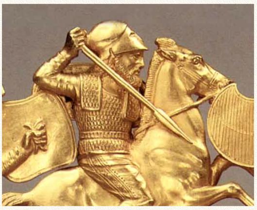 Воин-рус в «греческом коринфском» шлеме и рйкмхеут. Нельзя приписывать это вооружение только эллинам. Сама эллинская культура являлась производной от культуры русаков-саков.