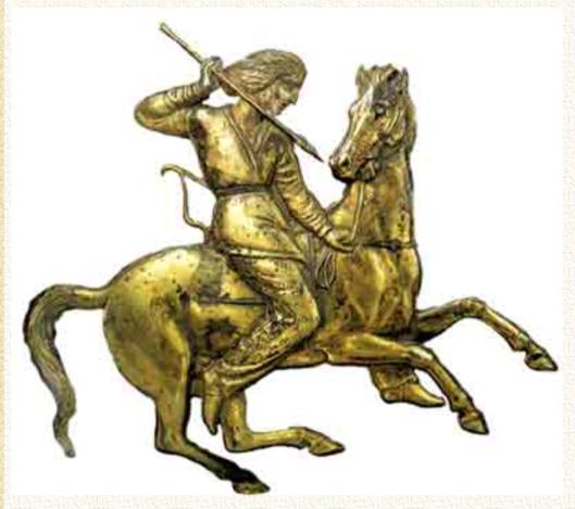 Молодой воин на охоте. Как показал Ю. Д. Петухов, скифы вели «казачий» образ жизни. Конь был верным другом руса-скифа и на охоте, и в бою.