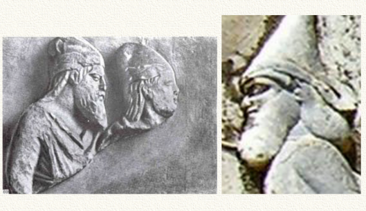 Изображения скифских князей: слева — Причерноморье (скифы Таврии) - Скилур и Палак; справа — Средняя Азия (саки) - Скунха. Европеоидные черты лица, густые и мягкие волнистые волосы, не характерные ни для кавказоидов, ни для монголоидов. На головах — шапки и колпаки.