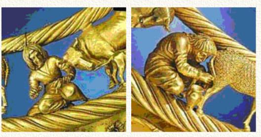 Изображение челяди на золотой княжеской-царской пекторали-гривне. Скифы занимались пастушеским скотоводством — коровы-кормилицы (почитаемое русами-арийцами животное) давали молочные продукты, а овцы ещё сверх того и шерсть. У юноши, доящего овцу (справа) обращает на себя внимание русская стрижка в кружок.