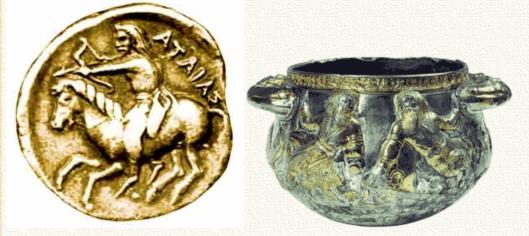 Слева: монета царя Атея (Атаяса). Русь-Скифия чеканила свою монету. Это доказывает то, что история российской государственности началась вовсе не в девятом веке. Антропологический тип Атея-Атаяса, запечатлённый на монете, совпадает с типичным обликом кельта-галла. Ранние кельты были русами, западной частью суперэтноса; скифы же были основным, центральным этнокультурным ядром супрэтноса. Справа: круговая чара-братина из кургана Гайманова Могила. Это - прототип братин, чаш и кубков Средневековой Руси и Московского государства. Чаша серебряная, с позолотой. Позолота покрывает волосы князей или бояр, изображённых на братине. Это доказывает то, что скифы были светловолосыми (светло-русыми), и считали это красивым. Изначальный смысл корня «рус» - «светлый», «чистый», «красивый», «хороший», «свой».