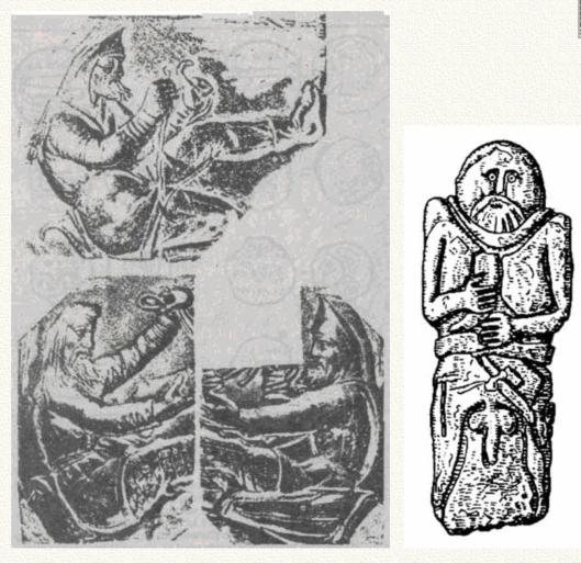 Слева: расовый тип скифов на вазе из кургана Куль-Оба. Справа: памятник князю-предку-прародителю. Несмотря на условность изображения, чётко прочитываются европеоидные черты руса.