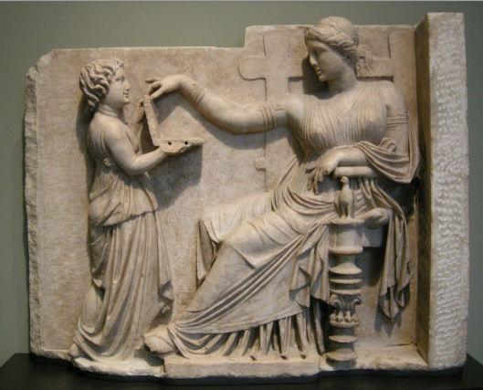 Gravestone of a woman with her slave child-attendant (Greek, c. 100 BC) - detail. Getty Villa, USA