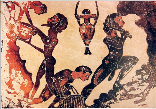 Slaves working in a mine of Laurion. Terracotta painting, Corinthian, fifth century BC.