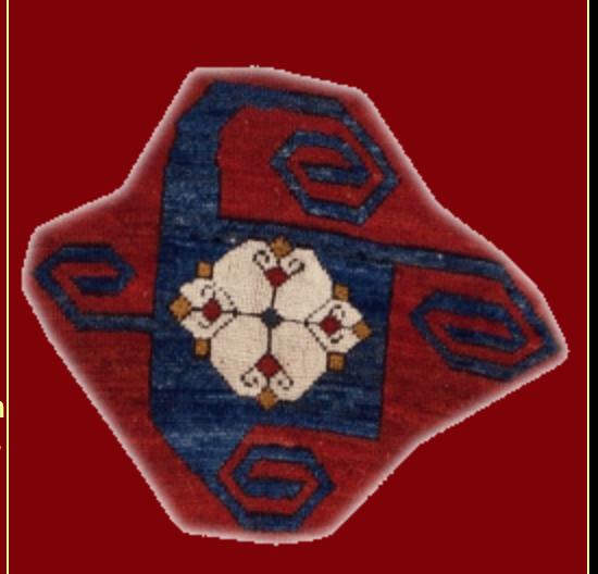 Kazak Pinwheel rug with swastika motives, Handwoven in Kazak Region, Azerbaijan. The design is distinguished by the typical