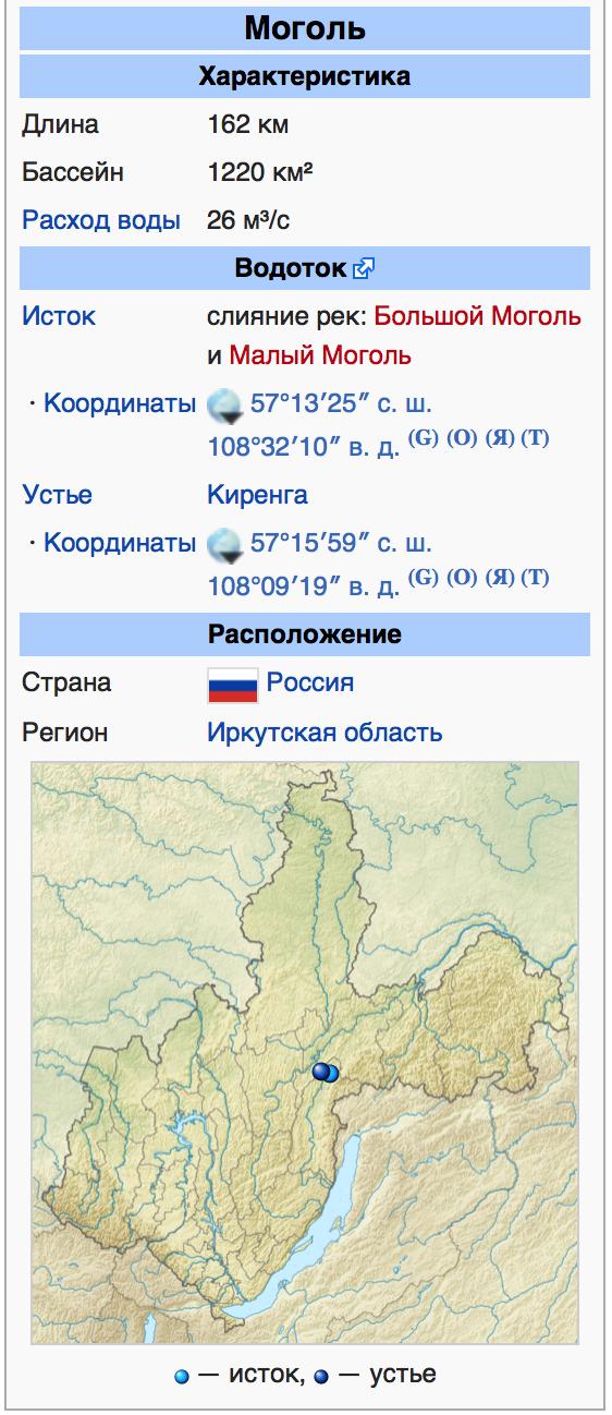 Река Моголь в Иркутской области, Сибирь, Россия, как слияние рек Большой Моголь и Малый Моголь. Иркутская область находится над Монголией. И название этой реки указывает, что не
