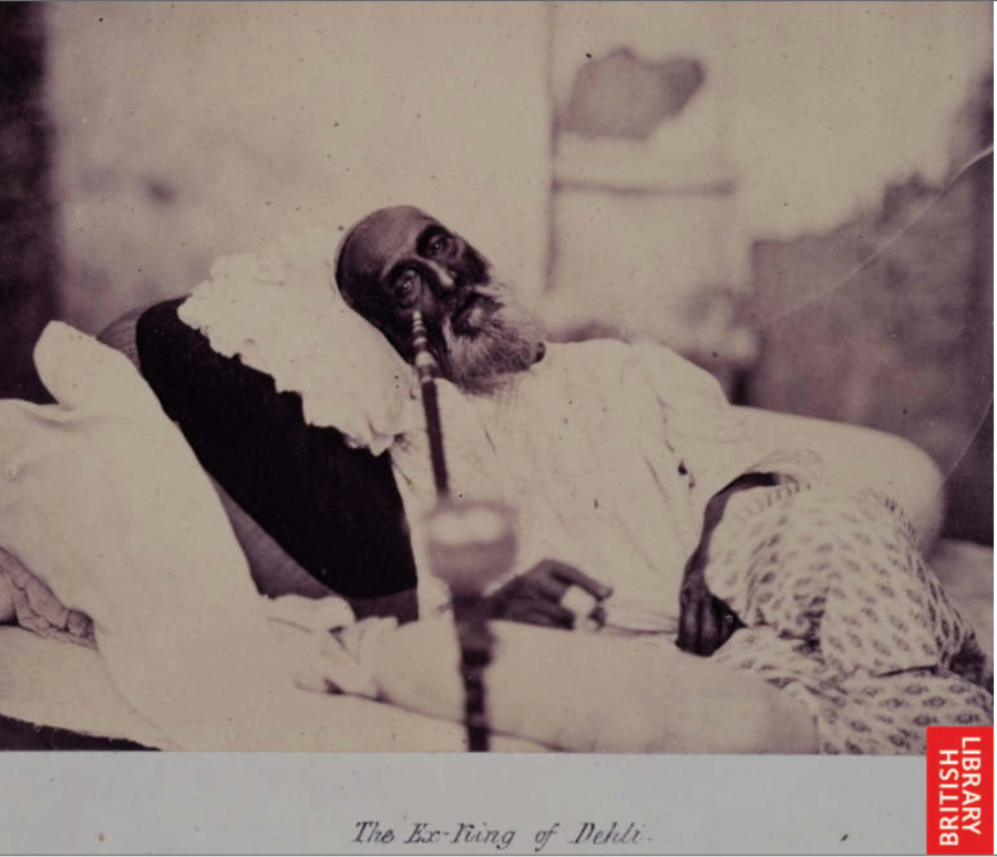 The last known photograph of Bahadur Shah, taken while he was a captive in the Red Fort, awaiting trial; photo by Tytler and Shepherd, 1858.