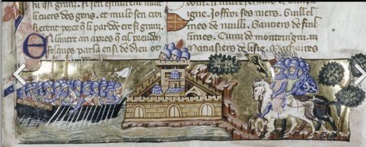 -- The Crusader attack on Constantinople, from a Venetian manuscript of Geoffreoy de Villehardouin's history, Unknown 14th-century artist - La Conquête de Constantinople of Geoffreoy de Villehardouin, Venice, ca. 1330