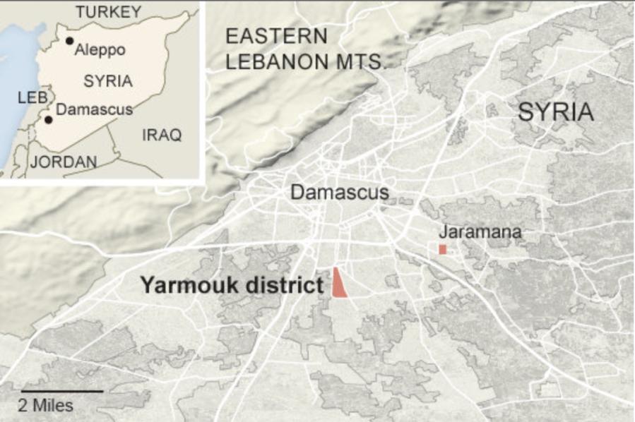 Ярмук и Ярамана -- это названия селений в Сурии/Сирии, берущие своё начало в названии нашего народа -- Арии-Ярые, от названия Солнца как