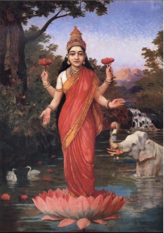 Lakshmi standing on a Lotus / Lily flower.