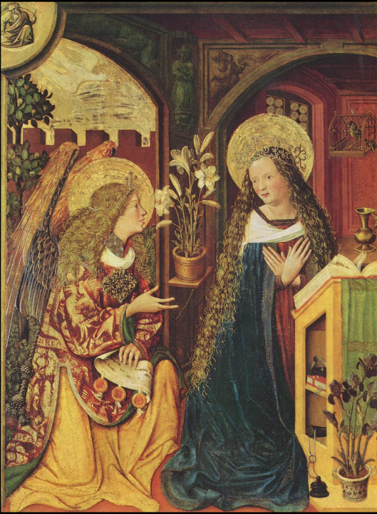 Bayerischer Meister, Verkündigung an Maria, 1500, 107 × 80.5 cm (42.1 × 31.7 in), Kunsthaus, Zürich