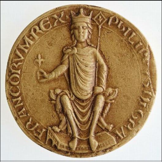 Sceau de Philippe Auguste:  PHILIPPVS DEI GRATIA FRANCORUM REX, 1180