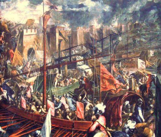 The siege of Constantinople in 1204, by Palma il Giovane.