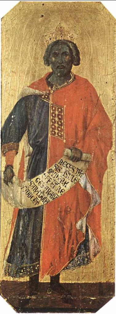 Duccio di Buoninsegna (1255-1308-11), King Solomon, tempera on panel, 42x16 cm, 1308-11, Museo dell'Opera Metropolitana del Duomo, Siena.