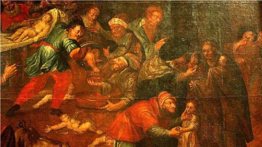 Sandomierz depiction of Jewish infant sacrifice.