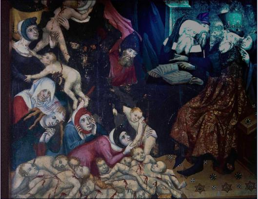 Jews were expelled from Spain in 1492 for human sacrifice. They left behind mountains of murdered infants. ---------- Евреи были изгнаны из Испании в 1492 году из-за их человеческих жертвоприношений. Они оставили позади горы убиенных младенцев.