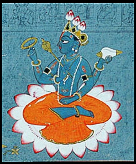 Vishnu holding the lotus, also sitting on it and wearing a lotus-bud crown.