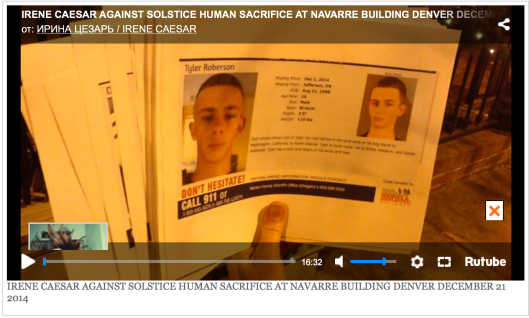 IRENE CAESAR AGAINST SOLSTICE HUMAN SACRIFICE AT NAVARRE BUILDING DENVER DECEMBER 21 2014