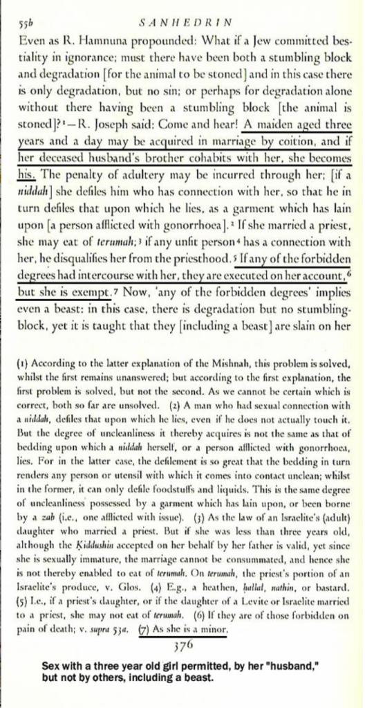 """Секс с трёхлетней девочкой разрешён её """"мужем"""", но не другими, включая животных."""