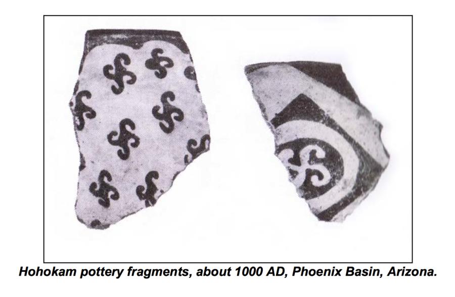 Сравним: конфигурация данной Свастика из района Феникса (Финикса) (1000 н.э.) идентична свастичному Коловрату на Скифских монетах (в правом нижнем углу на предыдущем изображении).