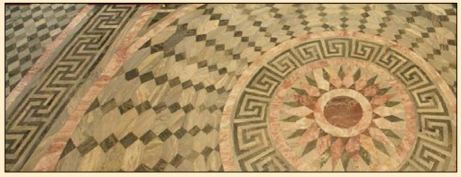 Гаммадион на мозаичном полу Исаакиевского собора, 1818 по 1858 год, Санкт-Петербург, Россия. ---------- Gammadion on the mosaic floor of the Saint Isaac's Cathedral, 1818 to 1858, St. Petersburg, Russia.