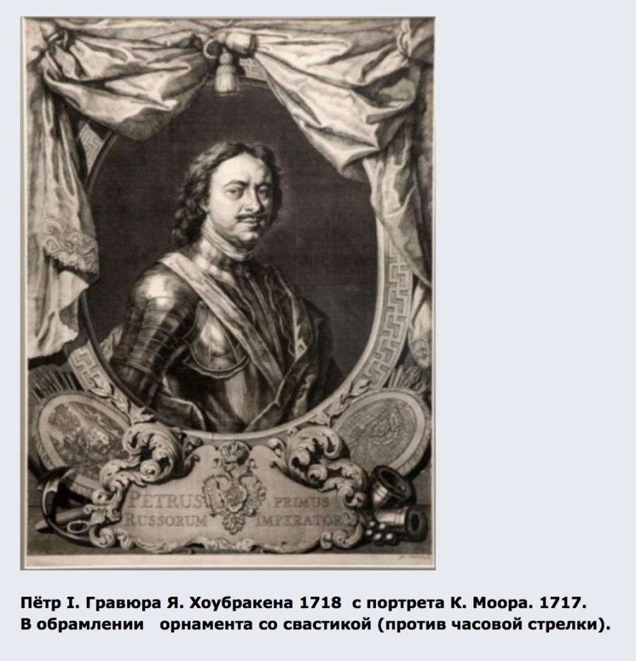 Пётр I. Гравюра Я. Хоубракена 1718 с портрета К. Моора. 1717. В обрамлении орнамента со свастикой (против часовой стрелки).