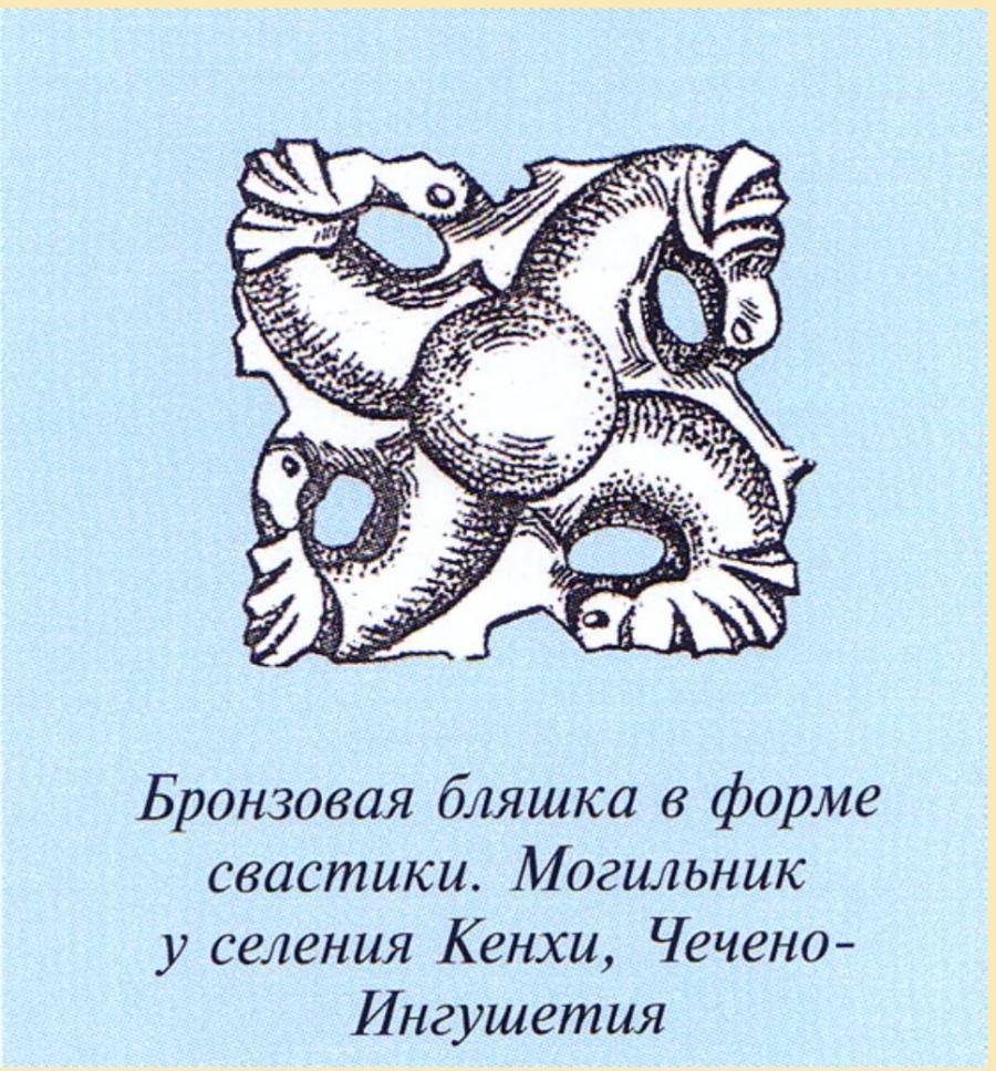 Свастичные артефакты древних Руско-Арийских городов Чечни и Ингушетии, Россия, совершенно идентичны свастичным артефактам Руско-Арийских городов Арьи-зоны той же эпохи.
