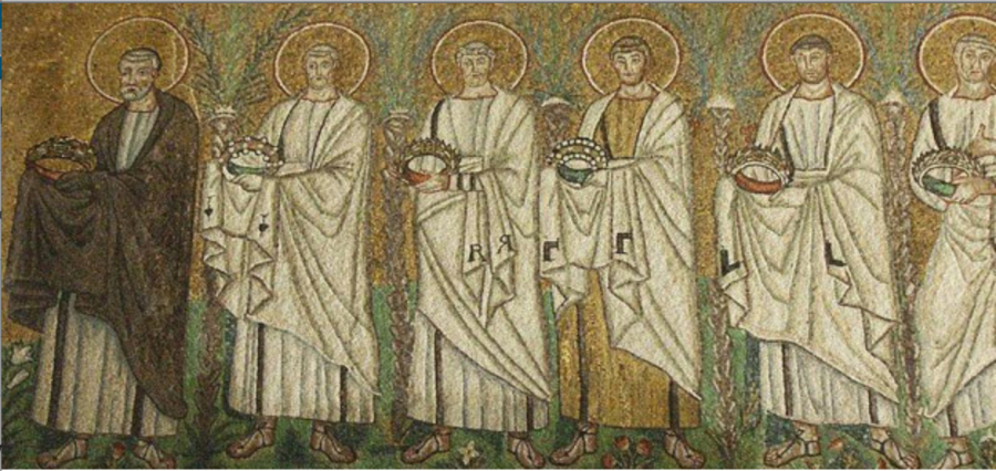 Gammadia in Basilica of Sant' Apollinare Nuovo, Ravenna, Italy, late 5th century, originally dedicated to Christ. ----------  Гаммадия в базилике Святого Аполлинария Нового, Равенна, Италия, конец 5 века, первоначально посвященная Христу.