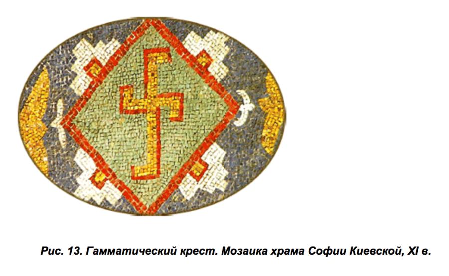 Гамматический крест. Мозаика храма Софии Киевской, XI в.