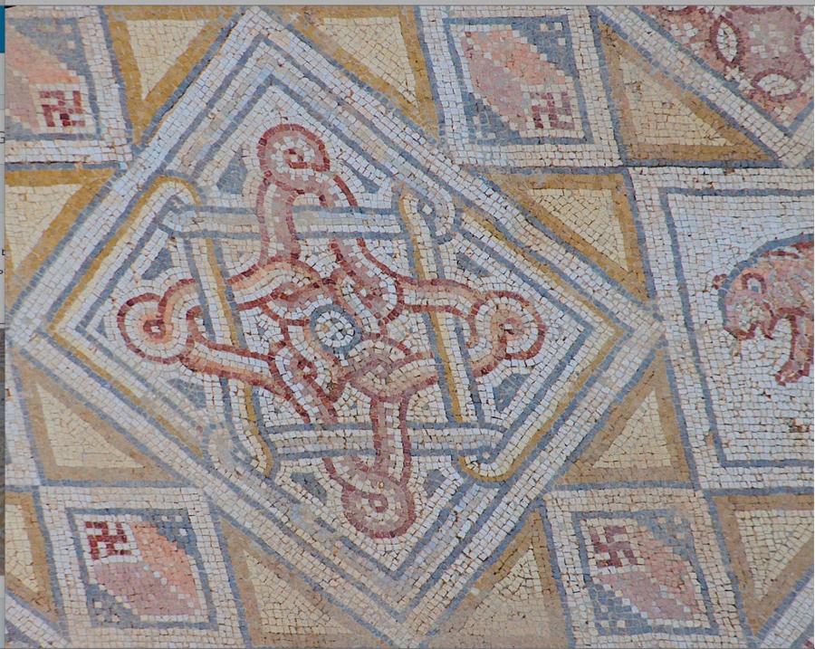 Гамматический / Свастичный мозаичный пол в Церкви Святого Георгия, Гераса (Γέρασα, Jerash), Северный Иордан