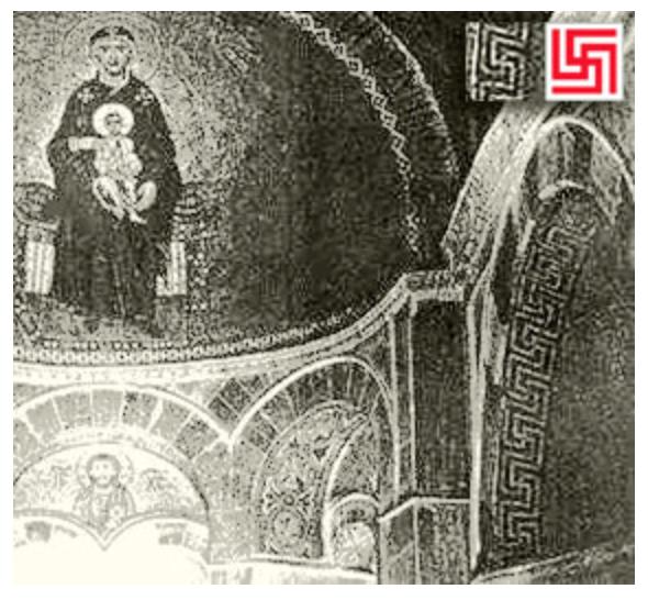 Гаммадионом как Свастикой-Рубежник украшена церковь святого Луки в Греции.