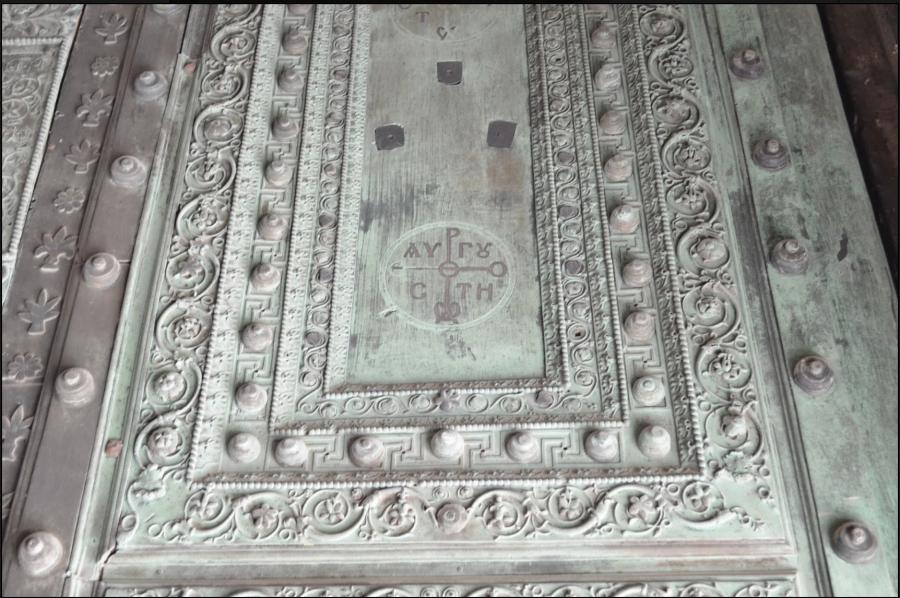 Гаммадион на бронзовых дверях главной Христианской святыни мира -- в Софийском Соборе (Hagia Sophia), Константинополь (Истанбул)
