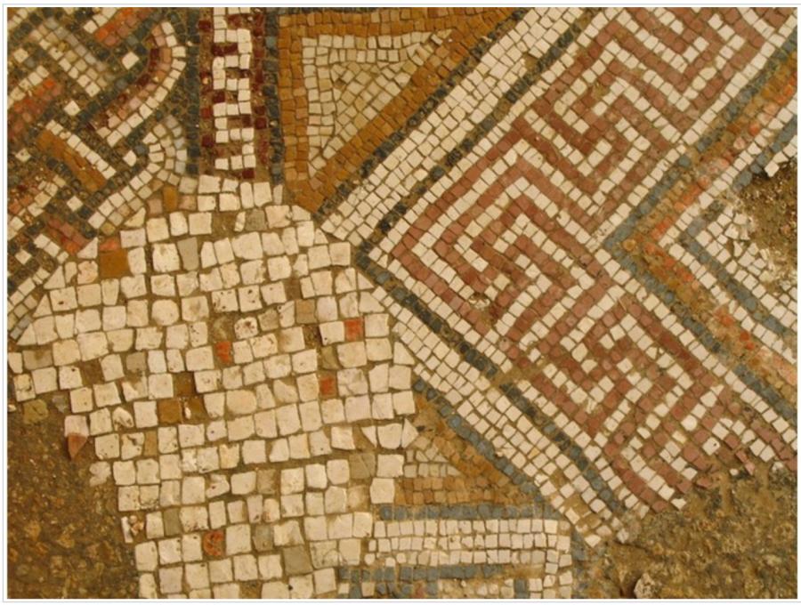 Гамматический / Свастичный мозаичный пол в Христианской Православной Церкви Святого Георгия (Church of St. George), Гераса (Γέρασα / Jerash), Северный Иордан, 530 год н.э.