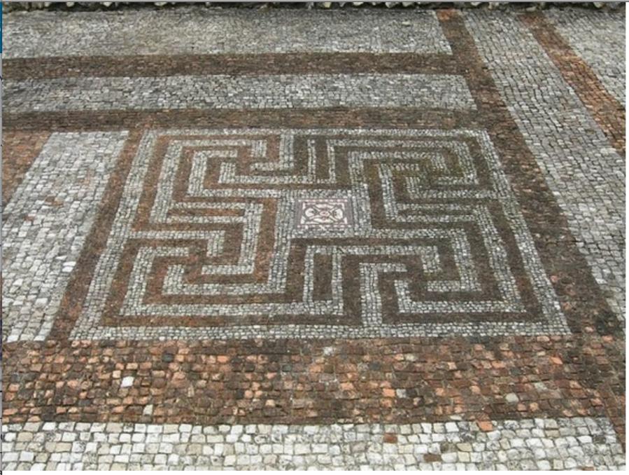 Такое полное изображение Тетраграмматона как голографического Гаммадиона мы видим в орнаменте мозаичного пола Римской / Романской Виллы 3 века в Рокборне в Хэмпшире (Mosaic floor, Rockbourne Roman Villa, Hampshire, 3rd century BC).